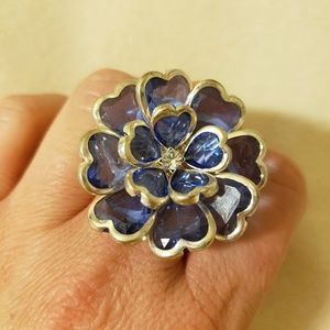 Stretchy Blue and Silver Gemstone Ring